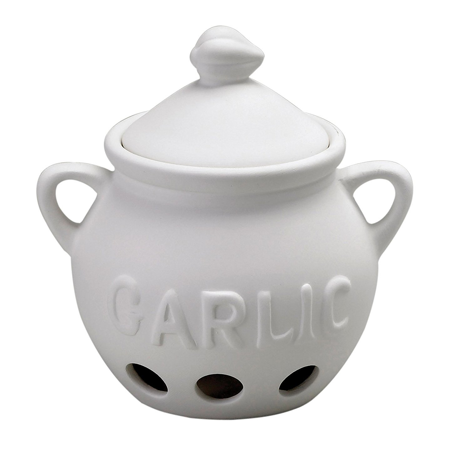 HIC Garlic Clove Keeper, Vented Ceramic Storage Container with Lid, White, 5.25-Inch by 5.5-Inch HIC Harold Import Co. 43606