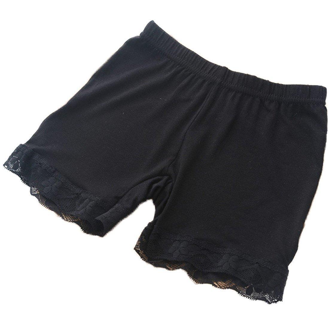 Maylife Little Girls Kids 4 Pcs Boy-Leg Slim Elastic Safety Short Lace Leggings Panties Underwear