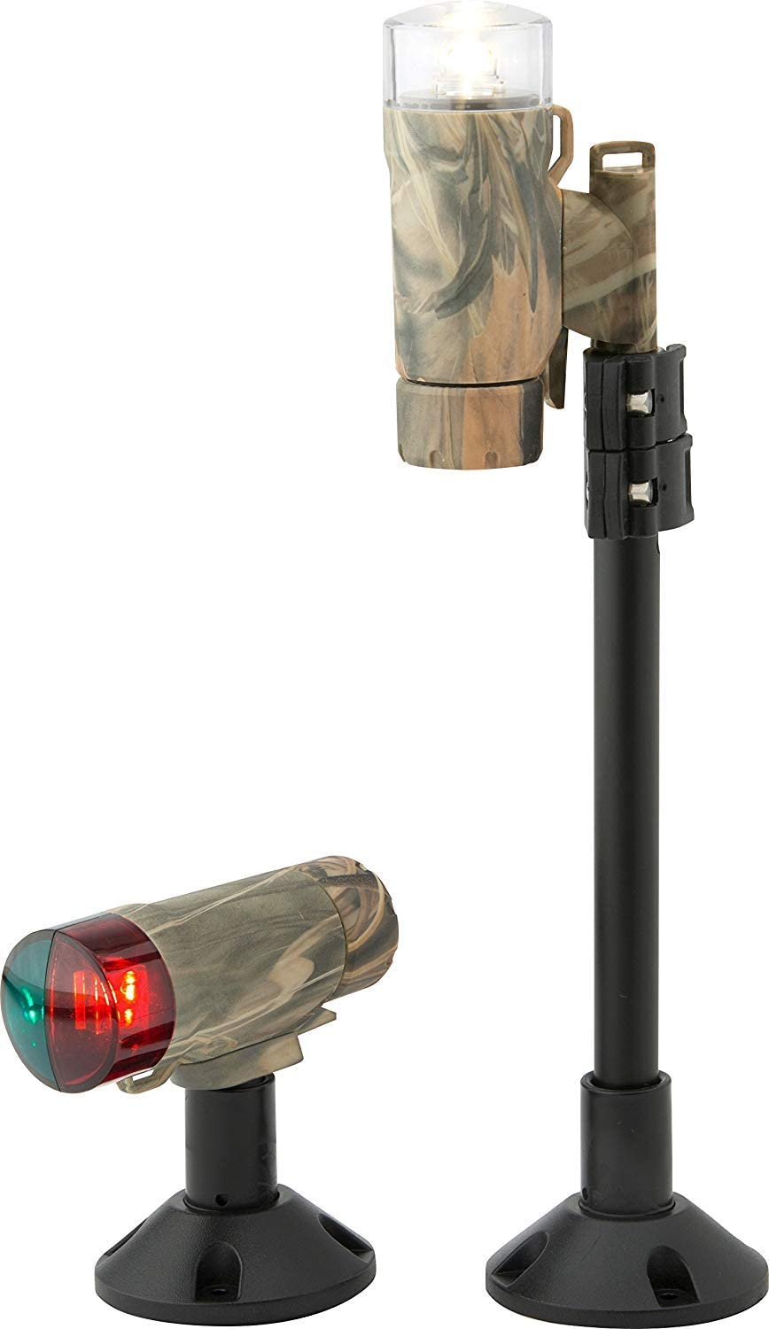 attwood 14193-7 Water-Resistant Deck Mount LED Navigation Light Kit, Real Tree Max-4 Camouflage Finish