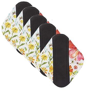 LUCKME Almohadillas sanitarias Lavable X 5, Absorbente de Flujo Pesado de Tela Menstrual Reutilizable para