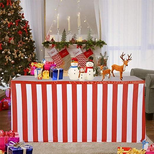 Falda de mesa a rayas para Navidad, cumpleaños, bodas, banquetes ...