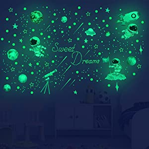 842 Pcs Wall Stickers Glow in The Dark, Bedroom Wall Decals Astronaut Rocket Stars Space Solar System Galaxy Planets Wall Stickers Decor for Boys Girls Kids Nursery Birthday Party Favor Gifts