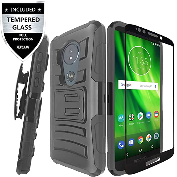 huge discount d3f05 25d0f Moto G6 Play Case/Moto G6 Forge Case With Tempered Glass Screen  Protector,IDEA LINE Heavy Duty Armor Shock Proof Dual Layer Holster Locking  Belt ...