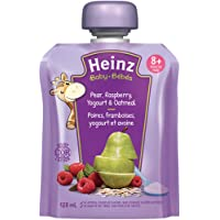 Heinz Baby Pear, Raspberry, Yogourt & Oatmeal, 128mL Pouch, 6 Count