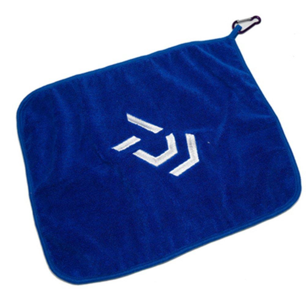 Qike Rainleaf Microfiber Fishing Hand Towel Fishing Towels with Carabiner Clip 13.7810.63 Inches (Blue Brown)