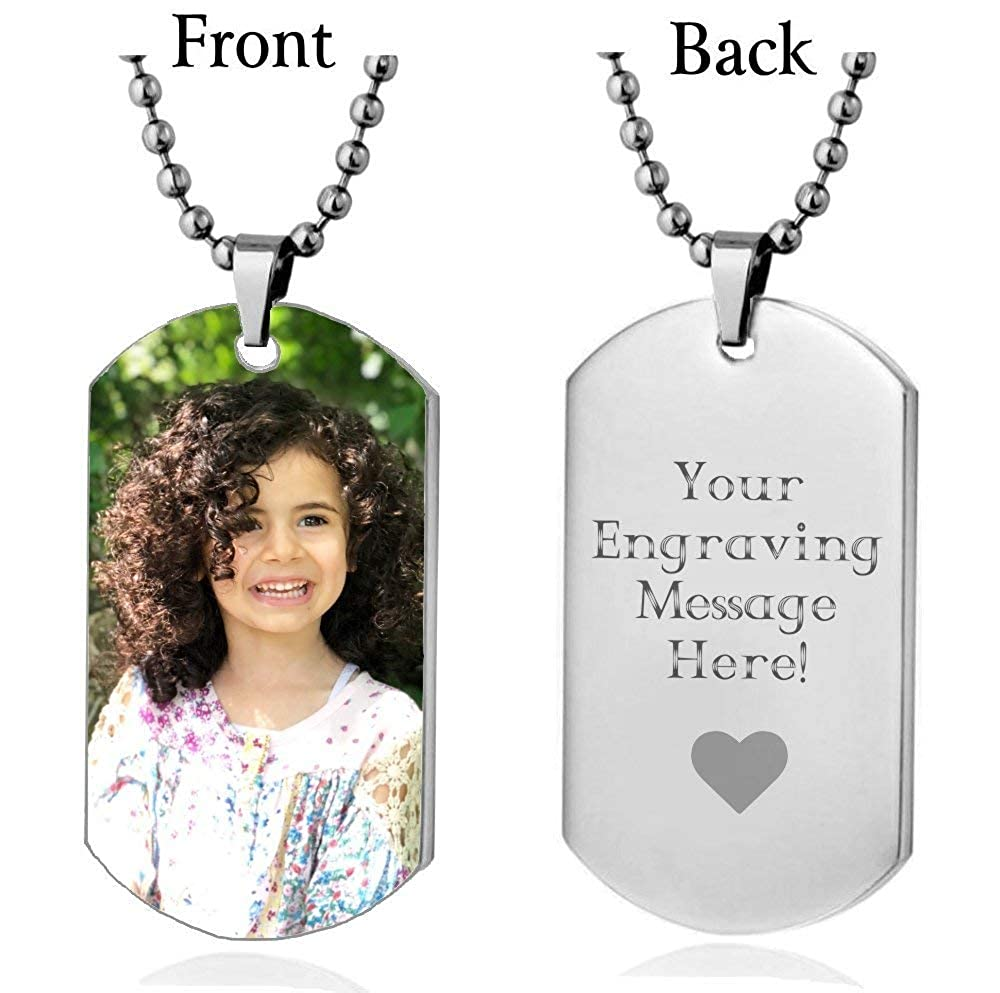 Interway Trading Personalized Custom Photo High Polished Color Engraved Dog Tag Necklace Pendant and 24 inch Stainless Steel Chain Velvet Giftpouch and Keyring Colordogtag1