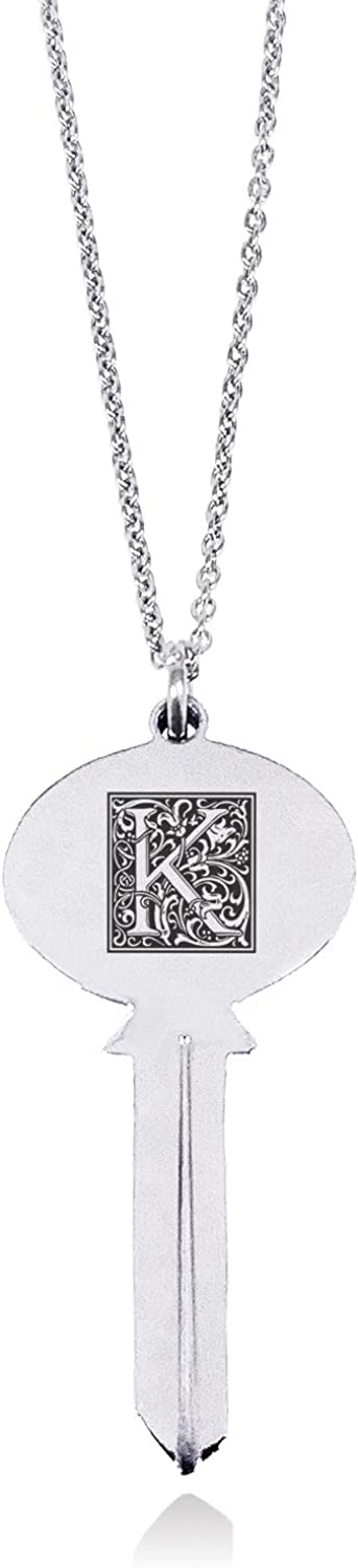 Tioneer Stainless Steel Letter K Initial Floral Box Monogram Oval Head Key Charm Pendant Necklace