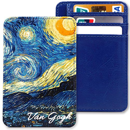 Kandouren Slim Minimalist RFID Leather Wallets,Front Pocket Wallet,Credit Card Holder for Men & Women,Money Clip Case(Blue Van Gogh Starry Night)