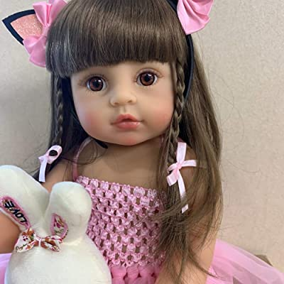 Zero Pam 22 inch Reborn Baby Dolls Sweet Girls Long Hair Real Life Baby Dolls 55 cm Reborn Toddler Dolls Silicone Vinyl Full Body Newborn Baby Gifts: Toys & Games