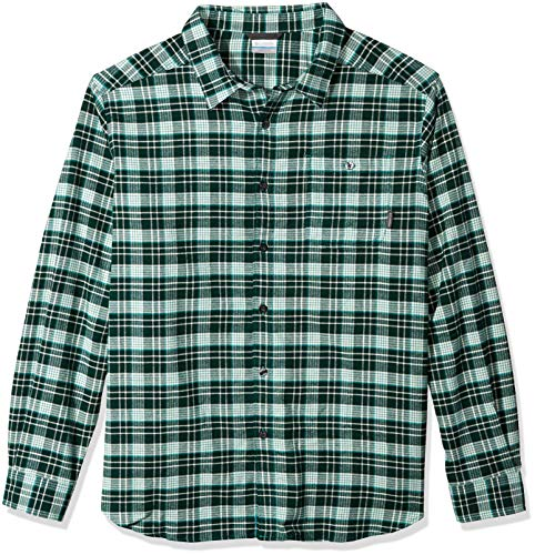 Columbia Men's Big and Tall Cornell Woods Big & Tall Flannel Long Sleeve, Glacier Green Plaid, 4X