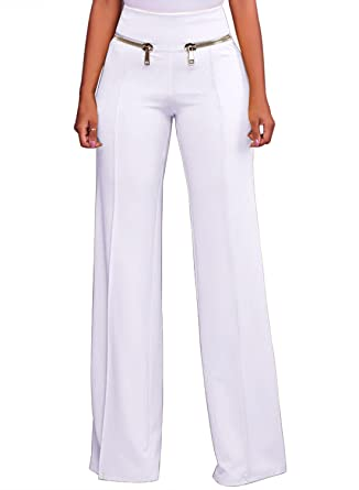 FIYOTE Women Casual High Waisted Wide Leg Long Pants with Zippers (S-XXL,5  Colors for Choice)