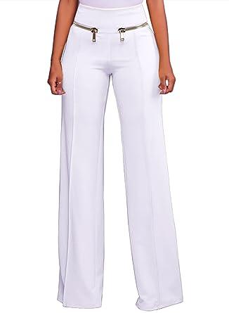d6a27d4272cec LOSRLY Women Solid Color High Waist Zipper Wide Leg Palazzo Long Pants Plus  Size - White