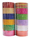 MUCHMORE Indian Bollywood Fashion 12 Colors Plain Bangle Box Partywear Ethnic Jewelry (2.8 Inches)