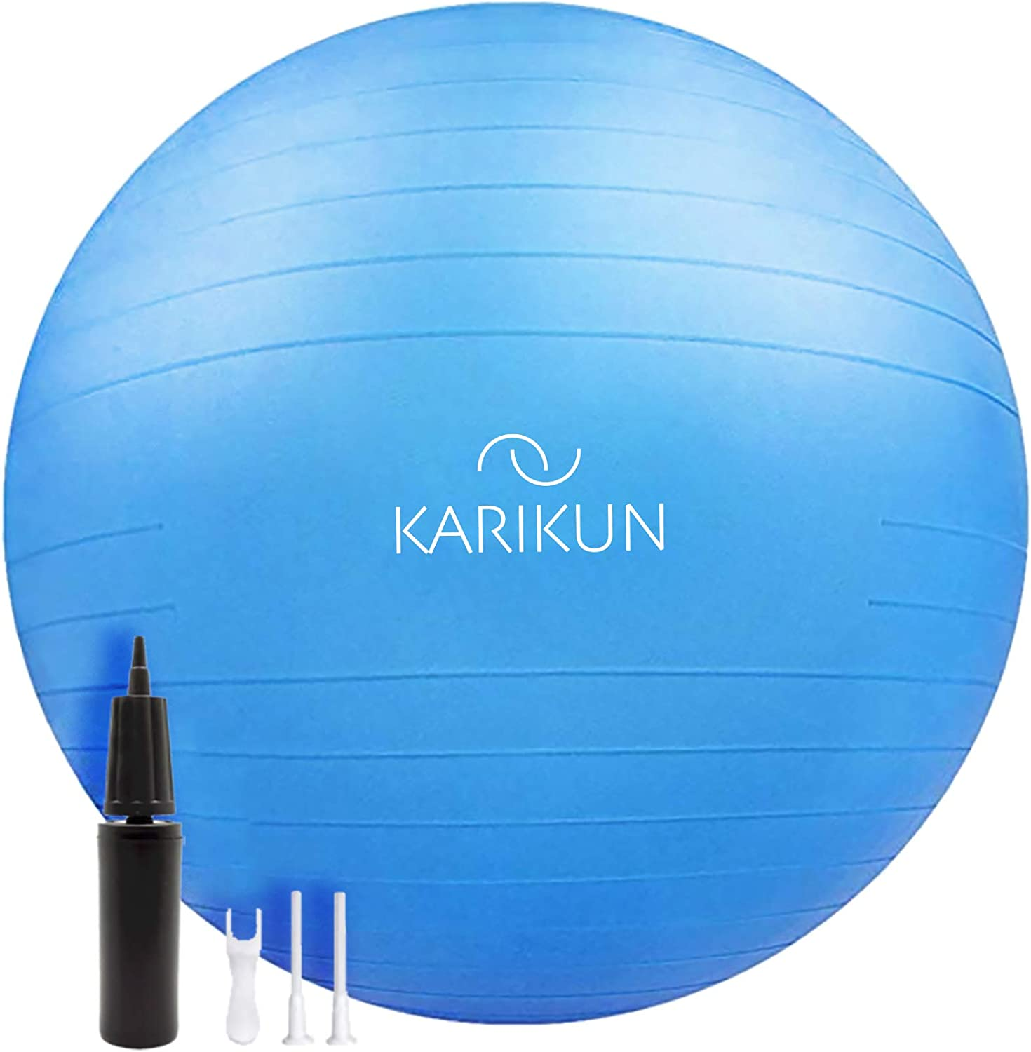 KARIKUN Exercise Ball, 65cm Yoga Ball, Medicine Ball Chair for Fitness - Stability Balance Pilates Core & Workout with Quick Pump - Upgraded Anti Burst Slip Resistance - Home Gym Office Chair