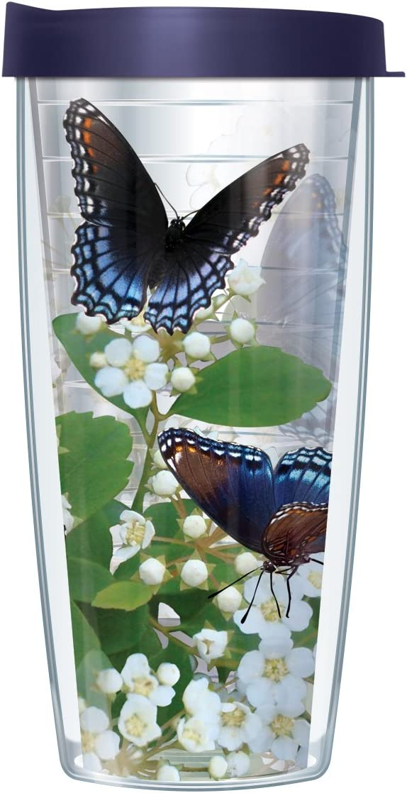 Signature Tumblers Blue Admiral Butterflies on White Potentilla Flower Wrap on Clear 16 Ounce Double-Walled Travel Tumbler Mug with Navy Blue Easy Sip Lid