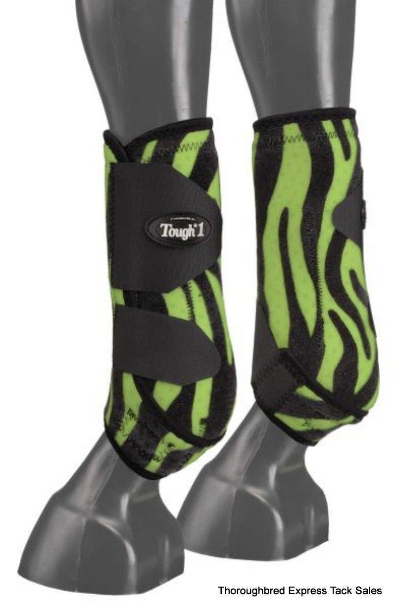 Tough-1 Tough-1 Extreme Fun Prints Rear Vented Sport Boots - Set of 2, Neon Green Zebra, Large