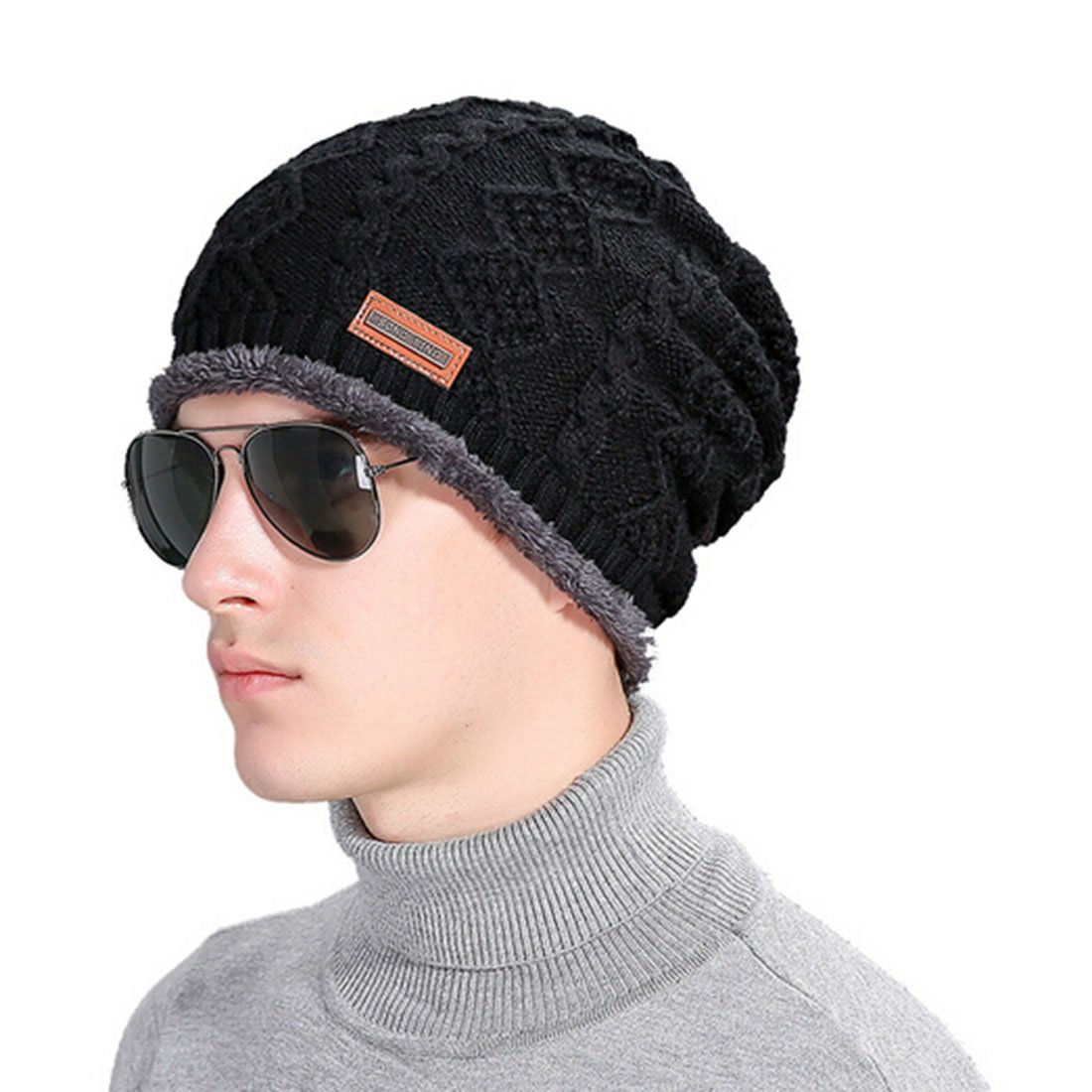4e08d31f912 Little Chair Men Women Cannabis Knitted Thick Cashmere Winter Earflap Beanie  Hat Crochet Skull Ski Cap (Black) at Amazon Men s Clothing store