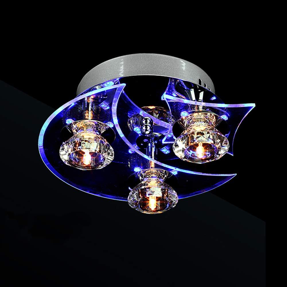 HuiKai Kristall Deckenleuchte 3 Leuchtet Mond und Stern Modernes Design für Hotel Küche Villa Balkon Flur
