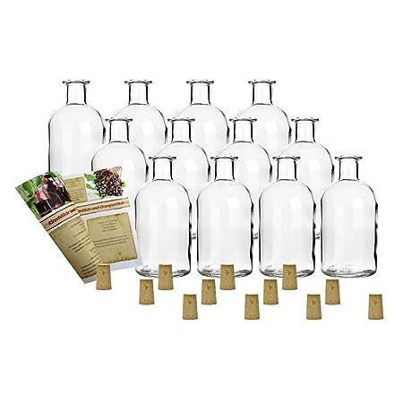 gouveo 12 botellas vacías de 250 ml con corchos, botellas de ...