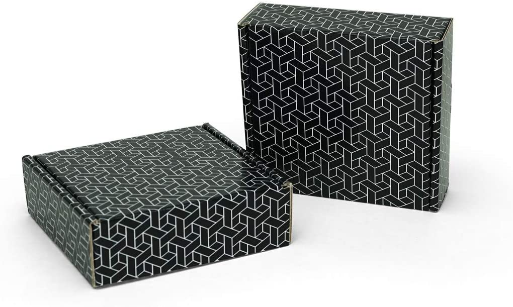 "Black Tile Pattern Shipping Boxes | 6"" x 6"" x 2"" Black Shipping Box 