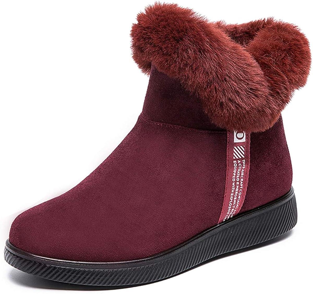 Waterproof Winter Women Flat Shoes Snow Boots Fur-lined Slip On Warm Ankle Size