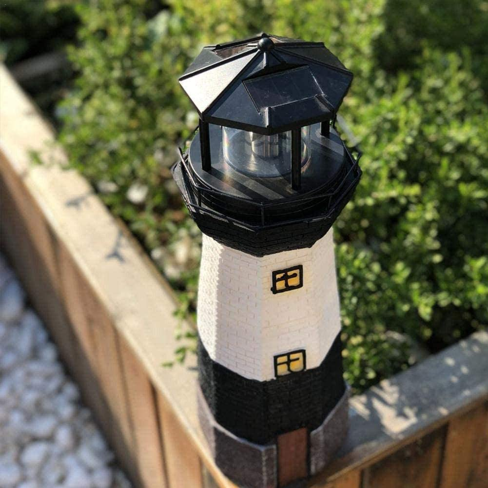 Solar Powered LED Light Lighthouse Statue Rotating Lawn Lamp Solar Powered Landscape Lights Outdoor Sensor Path Lights Home Decoration IP65 Waterproof Garden Stake 27cm Height Red Or Black
