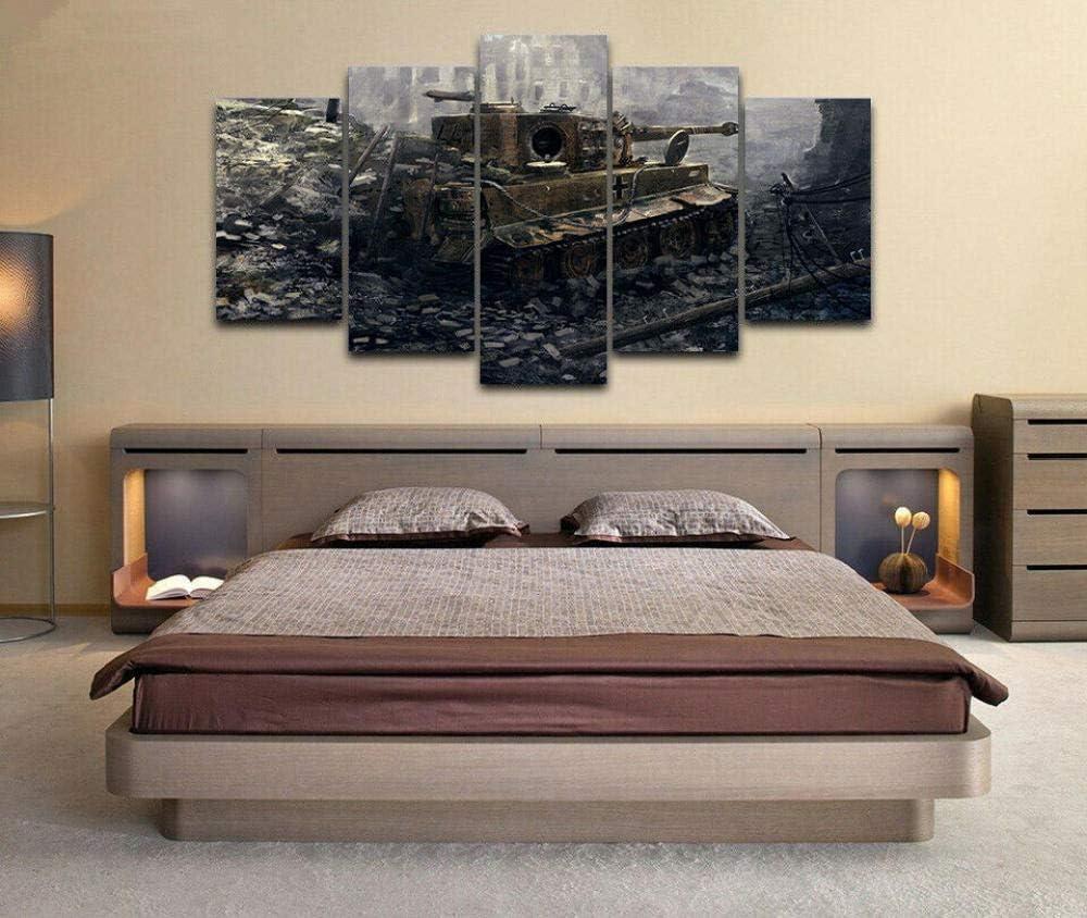 5 Piezas Cuadro sobre Lienzo De Fotos Tanque Tiger I de la Segunda Guerra Mundial Lienzo Impresi/ón Cuadros Decoracion Salon Grandes Cuadros para Dormitorios Modernos Mural Pared Listo para Colgar