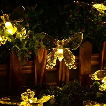 Salcar 5 Meter Solar LED Lichterkette 20 Schmetterlinge Deko Beleuchtung  Für Weihnachten, Party, Festen