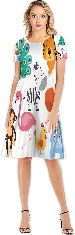 C COABALLA Cute Autumn Forest Seamless paern Girl's Round Neck Flowy Maxi Dresses,090232 for Beach,S