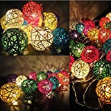 AtneP 20 Balls Home Decoration Light Thai Mixed Color Rattan Ball String Lights Series (LADI) Festival Lamp,(US Socket PIN)(Multi color)