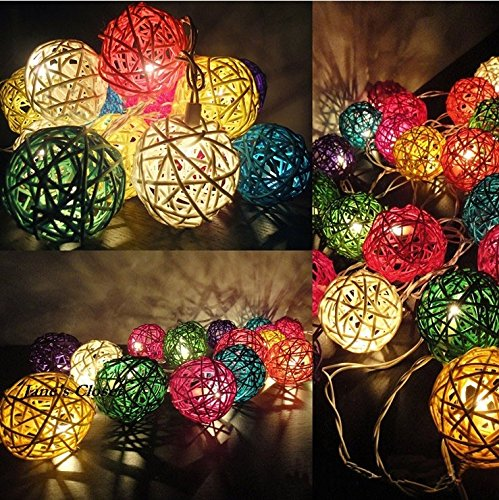 Buy Atnep 20 Balls Home Decoration Light Thai Mixed Color Rattan Ball String Lights Series Ladi Festival Lamp Us Socket Pin Multi Color Online At Low Prices In India Amazon In