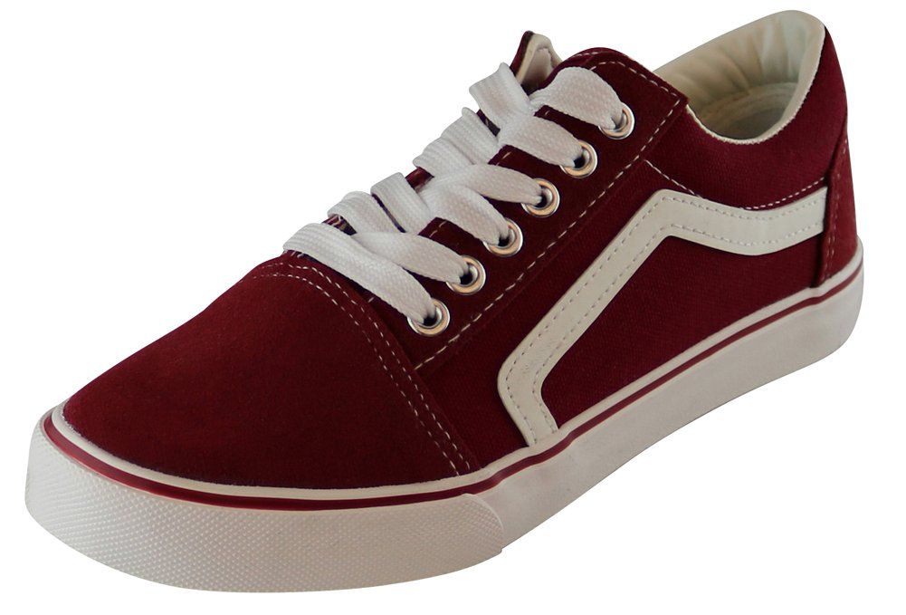 Cambridge Select Women's Closed Round Toe Lace-up Low Top Side Stripe Casual Sport Skate Flatform Sneaker B07CNZFKQ7 8 B(M) US|Burgundy
