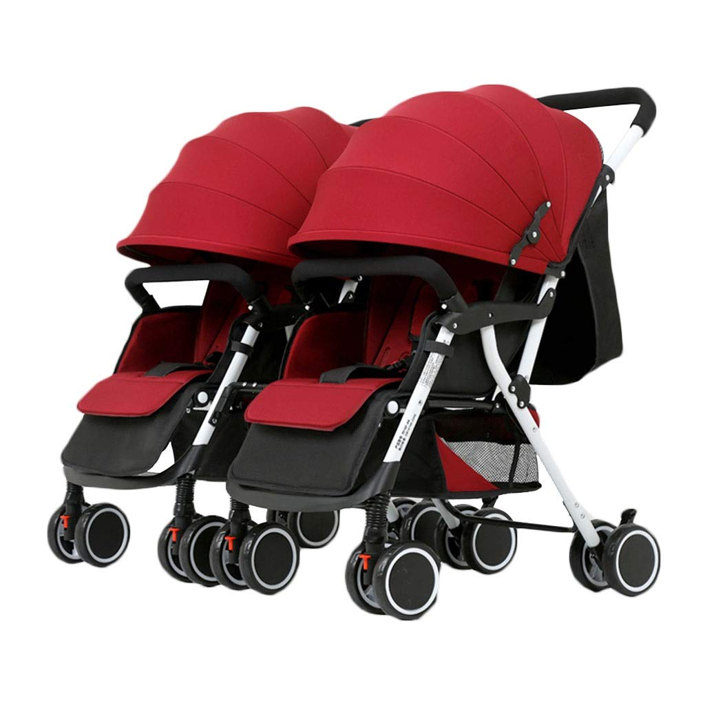 PLDDY Standard Twin Stroller Seated Portable Folding Four Wheel Shock Absorber Two-Way Stroller Newborn Four Seasons Universal Optional 4 Color Travel Full Coverage Awning (Color : Red)