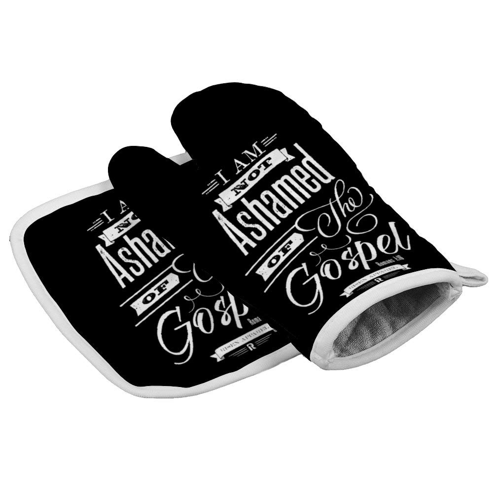 LijiahuaMitts Not Ashamed Romans 1_16 Christian Heat Resistant Oven Mitts and Pot Holders,Safe Kitchen Cooking Baking Grilling
