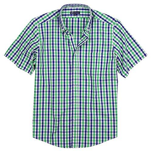 Shirt Plaid Down Button Green (Men's Cotton Casual Button Down Plaid Short Sleeve Shirt (Green/White/Blue, Regular Fit: Medium))