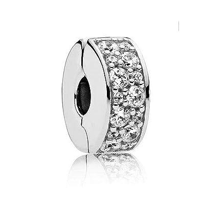 ac1e08fb8 Amazon.com: Romántico Amor Fit Pandora Bracelet Charm Shining Elegance Clip  Stopper Charm 7 Colors Clear CZ Silver Bead: Jewelry