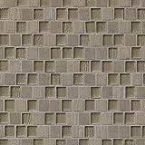 Bedrosians GLSTESDGROBPB ''Tessuto Glass'' Glass Tile with Offset Pattern, 3/4'' x 1'', Dark Gray