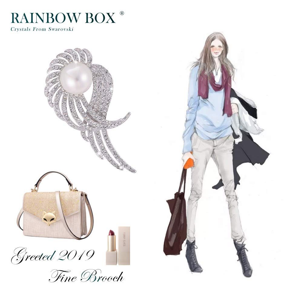 Rainbow Box Pearl Brooch Pins with Swarovski Crystal, Rhinestone Women's Brooches & Pins by RAINBOW BOX (Image #5)