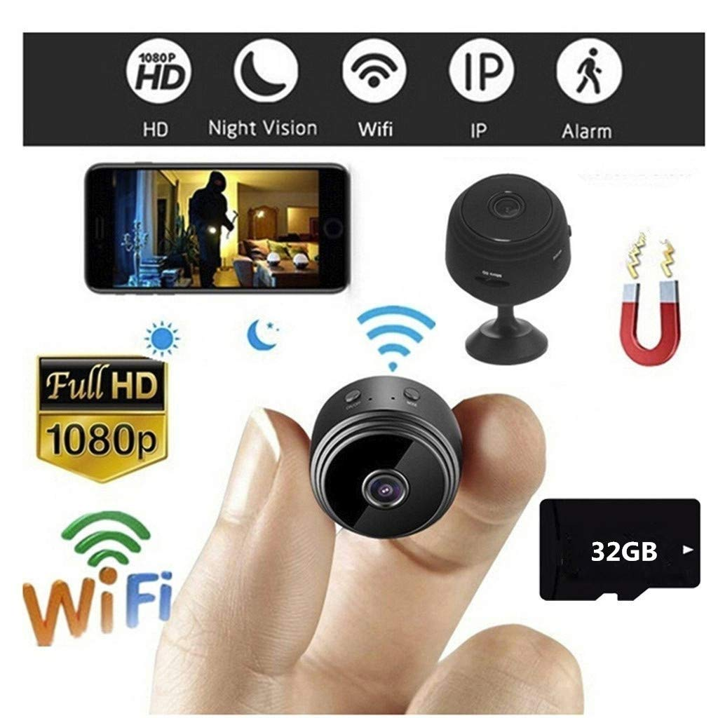 32GB WiFi Full HD 1080P Mini Camera Wireless Indoor Home Small Cam Security Cameras Nanny Cam with Motion Detection Night Vision