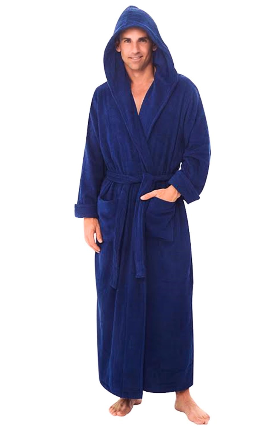 Alexander Del Rossa Mens Turkish Terry Cloth Robe, Long Cotton Hooded Bathrobe, Large XL Navy Blue (A0127NBLXL)