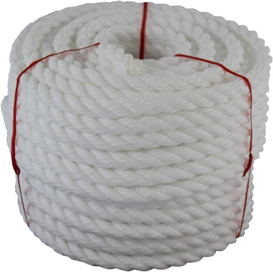 Floating Polypro Cord Rot Mold and Acid Resistant Marine Chemical 1//4 Inch - 3//4 Inch Moisture Oil Nautical Wet Projects Twisted Polypropylene Rope UV 50 Feet - 1200 Feet Mildew
