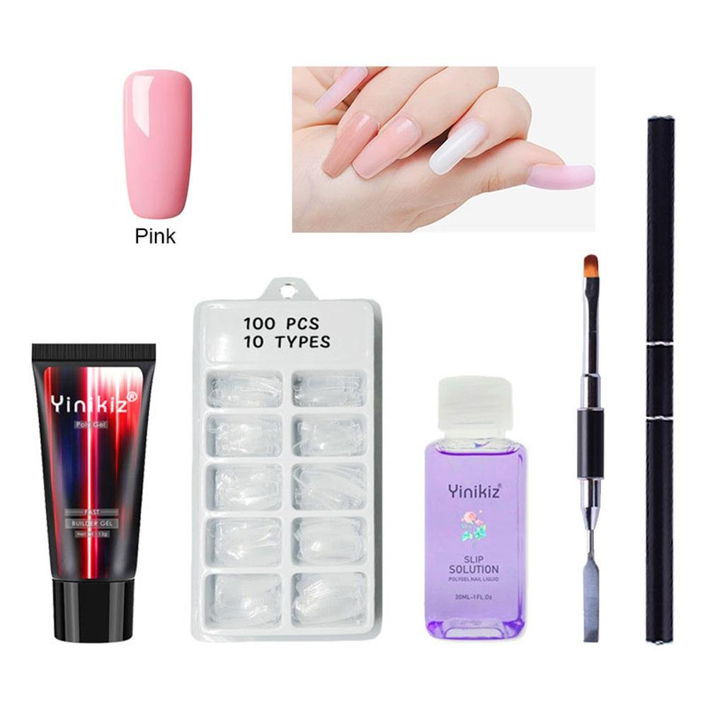 107 in 1 Polygel Nail Kit, Womdee Full Cover Nail Tips Poly UV Gel Kit Dual Forms Nail Tools Starter Set, Suitable for Starter,Nail Extension, DIY Nail Art, Nail Technicians- 5 Colors