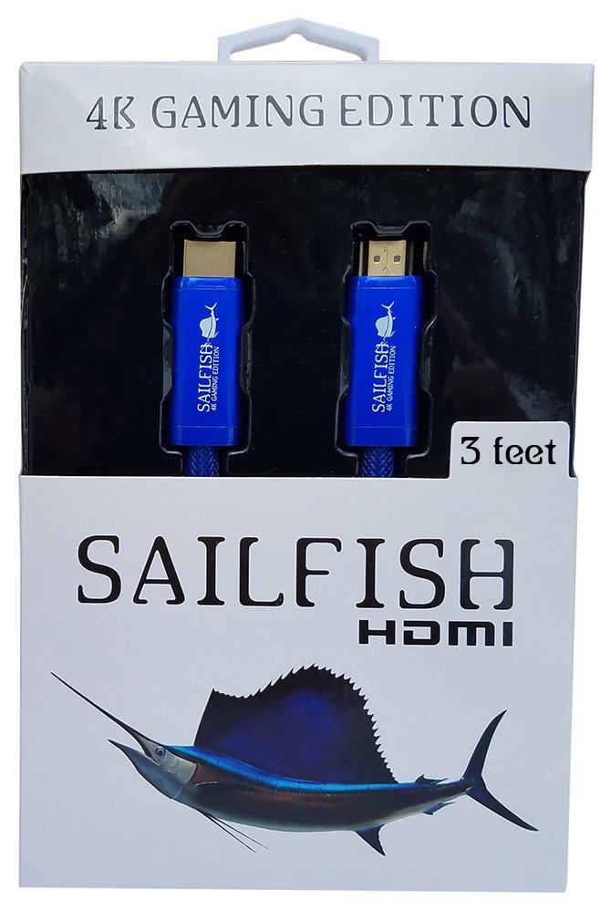 Sailfish HDMI Cable 2.0-4K Gaming Edition Diseñado para Xbox One X, Xbox One y PS4 Pro (3 pies, azul)