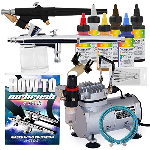 Price comparison product image PointZero Complete Airbrush Cake Decorating Set - 6 Chefmaster Colors