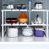 Kurtzy Under Sink Rack Shelf Extendable Retractable Stainless Steel Storage Organiser Holder for Home Kitchen Bathroom
