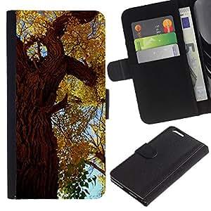 iKiki Tech / Cartera Funda Carcasa - Autumn Tree Leaves Golden Forest Sky Nature - Apple iPhone 6 Plus 5.5