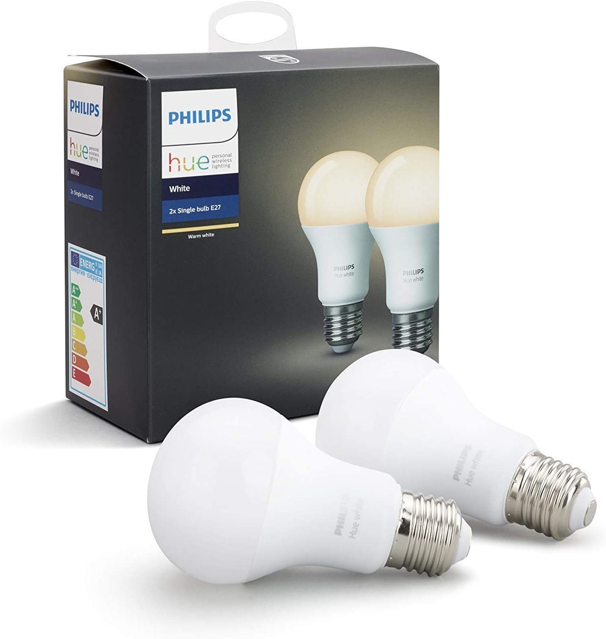 Philips Hue Pack 2 Bombillas Inteligentes LED E27, 9 W, Luz Blanca cálida, Compatible con Alexa y Google Home