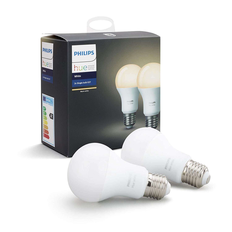 Philips Hue Pack 2 Bombillas Inteligentes LED E27, 9 W, Luz Blanca cálida, Compatible con Alexa y Google Home