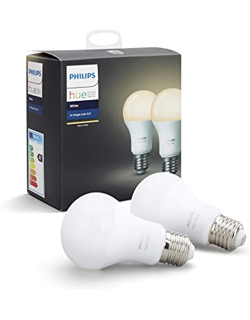 Philips Hue White - Pack de 2 Bombillas LED E27, 9 W, Iluminación Inteligente