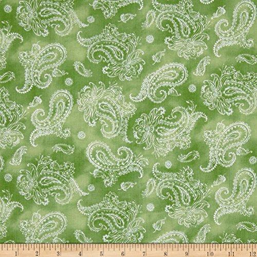 (QT Fabrics 0566230 Garden Grandeur Paisley Lt. Green Fabric by The Yard)